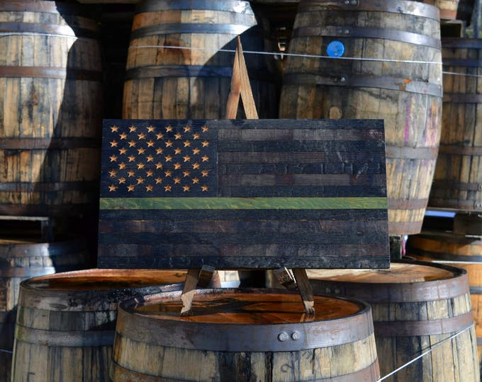 USA Thin Green Line Support Series Whiskey Barrel Flag - Proceeds Donated