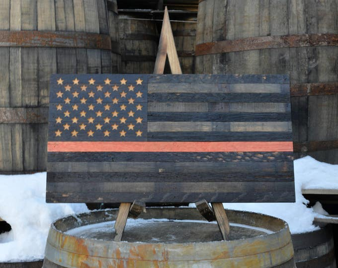 USA Thin Red Line Support Series Whiskey Barrel Flag - Proceeds Donated