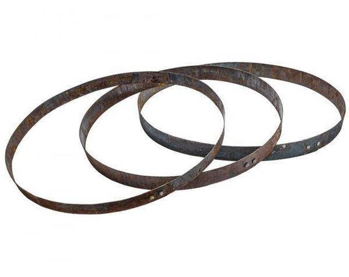 Metal Whiskey Barrel Hoop Bands - 3 Pack