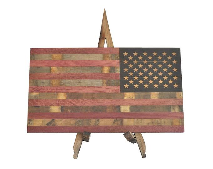 Wine Barrel Defender Flag - USA Flag Made From Oak Barrel Wood