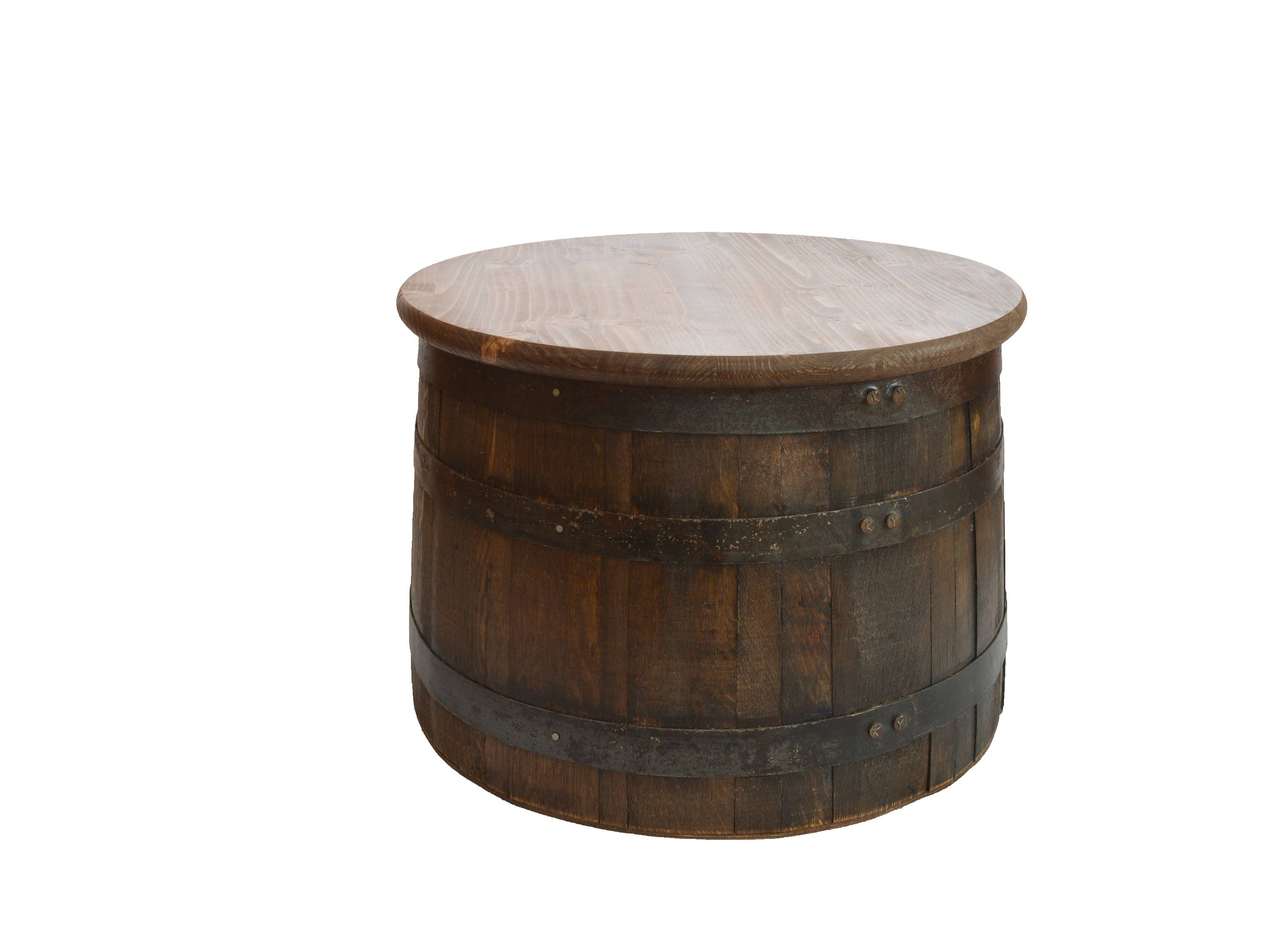 Half Whiskey Barrel Side Table With Lid