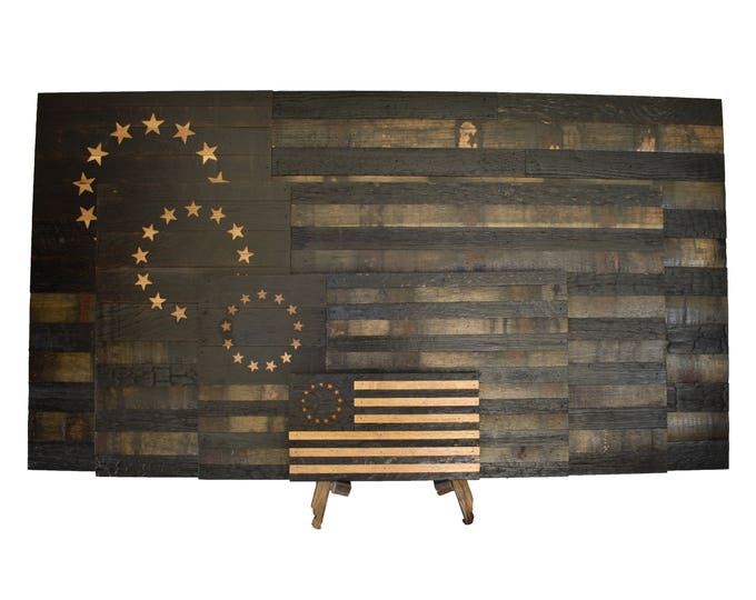 Betsy Ross Bourbon Whiskey Barrel Flag - Colony Flag Made From Oak Barrel Wood