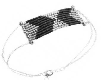 Bracelet Sterling Silver  & black glass Saturne