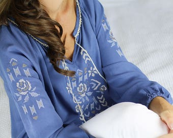 Blue peasant blouse, peasant blouse, boho blouse, blue boho top, blue boho tunic, blue gypsy top, blue tunic, blue embroidered blouse