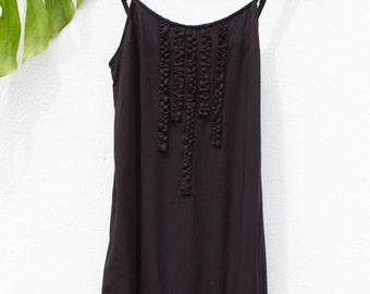 Black slip dress, black romantic dress, black gypsy dress, short black boho dress, black casual dress, black boho dress, black summer dress
