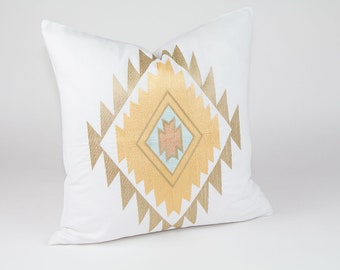 """White aztec pillow with embroidery in warm colours, 18"""" x 18"""" cover"""
