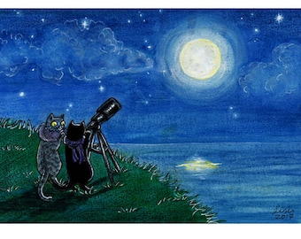 Stargazing Cats - Limited Edition ACEO print