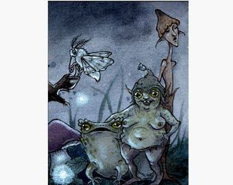 Toad, Moth, Faeries - Limited Edition ACEO print