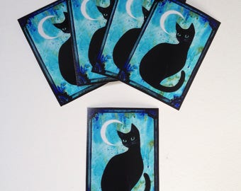 The Cat and the Moon - Limited Edition ACEO print