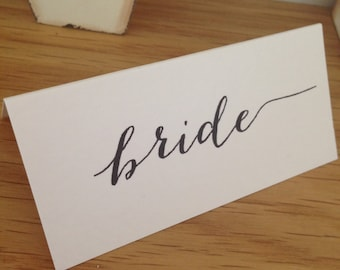 Handmade Personalised Wedding Place Name Cards Calligraphy Font