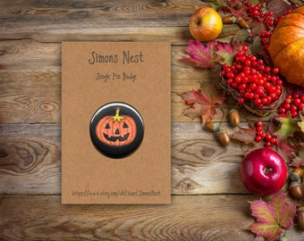 """Jack-O-Lantern Badge - Halloween Pumpkin Patch 25mm 1"""" Button Pin Badge - Black Orange Spooky Trick Or Treat Gift - Cute Gothic Accessories"""
