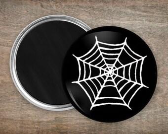 Spiderweb Fridge Magnet - Spooky Black White Large 55mm Round Refrigerator Magnet - Gothic Valentines Gift - Spider Kitchen Halloween Decor