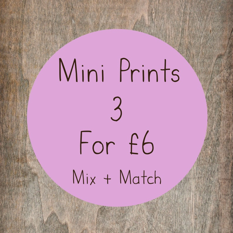 Mini A6 Print Offer  Any 3 Small Illustration Prints For 6 image 0