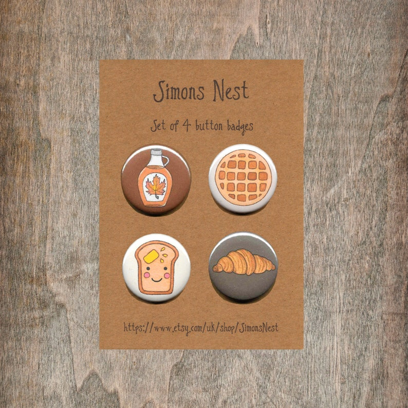 Maple Syrup Breakfast Badge Set Croissant Sweet Waffle Pack Of 4 Brunch 25mm 1 Button Pin Badges Cute Food Gift Buttered Toast
