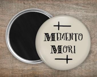 Memento Mori Magnet - Large 5.5cm Grey Gothic Alternative Round Refrigerator Magnet - Spooky Latin Gravestone Stocking Filler Birthday Gift