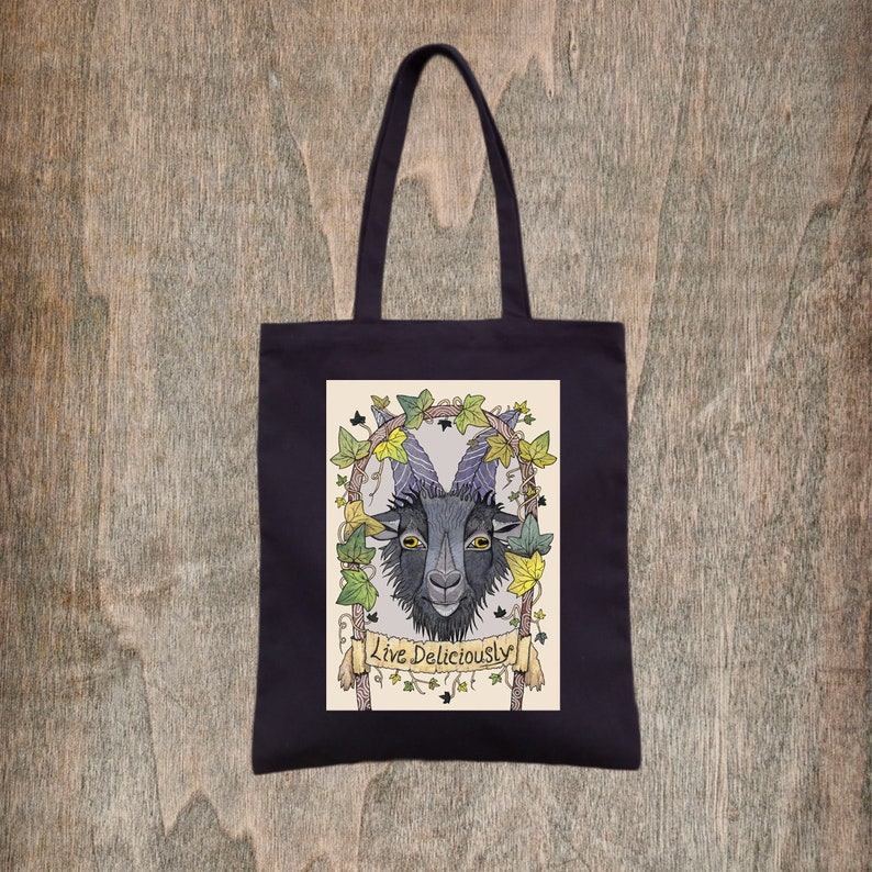 The VVitch Pagan Gothic Black Goat Ivy Cotton Tote Black Phillip Bag Horror films Folk Halloween Trick Or Treat Bag Live Deliciously