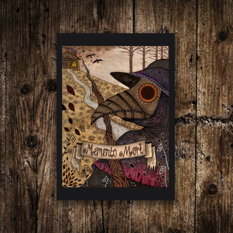 Mini A6 Plague Doctor Print  Small Plague Doctor Illustration image 0