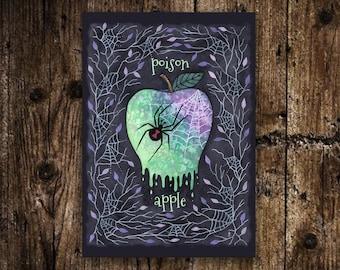 Mini Poison Apple Print - Small A6 Spooky Poisonous Spider Apple Illustration - Spooky Creepy Black Widow Spider Halloween Cobweb Decoration