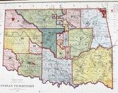 1887 Indian Territory Map Oklahoma General Land Office Treaty Dates ORIGINAL