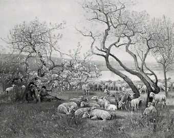 1890 A May Morning Louis Japy Herders with Flock ORIGINAL Photogravure RARE