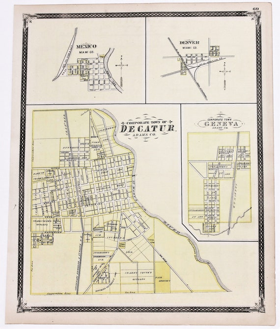 1876 Decatur Indiana Map Jay County Geneva Portland Dunkirk St Etsy