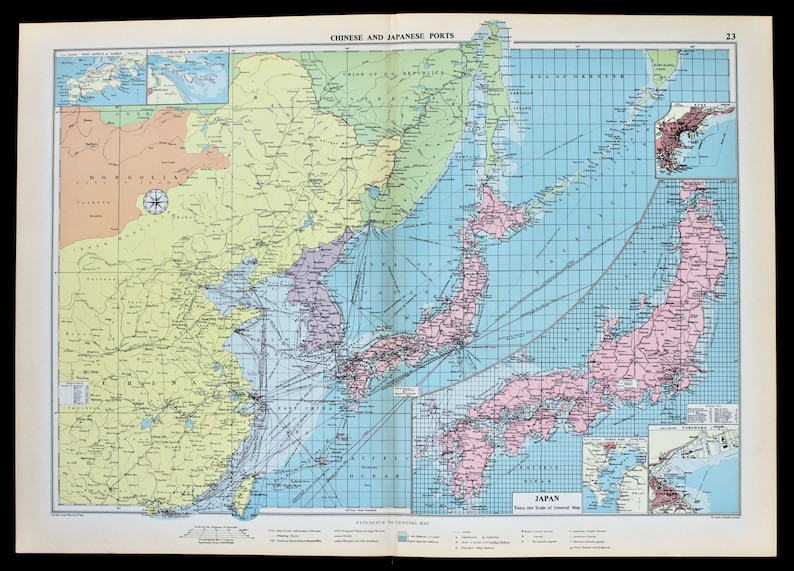 Map Of Asia Japan And China.1952 Asia Japan China Map Shanghai Shipping Routes Ports Etsy