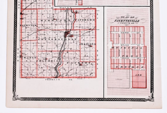 1876 Fayette County Indiana Map Plats Connersville Posey Etsy