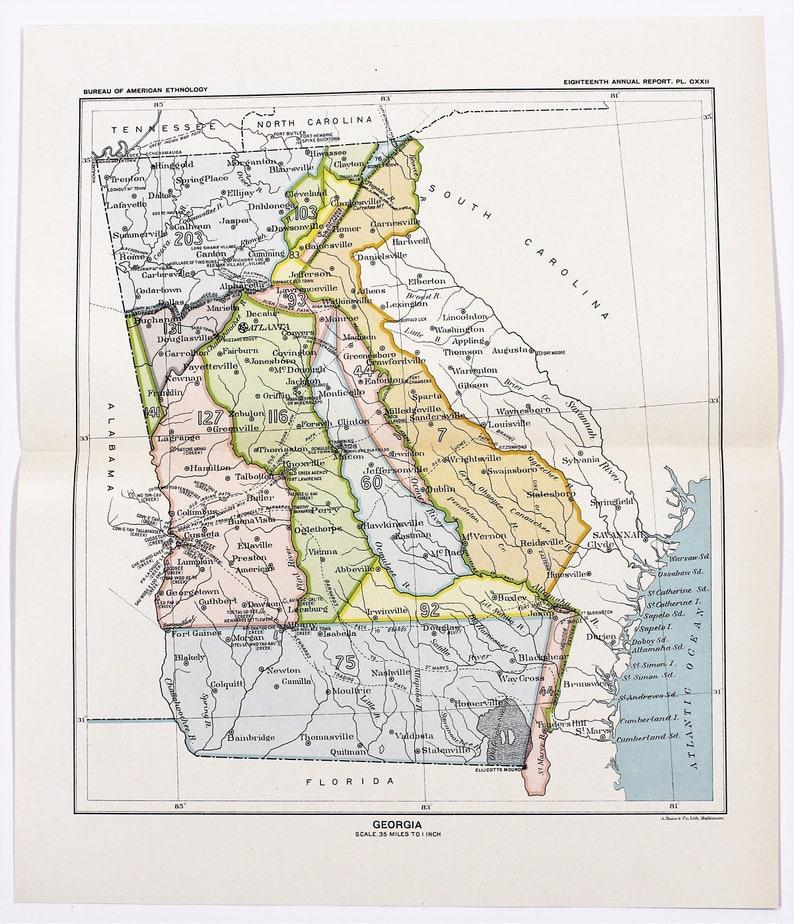 Map Of America Showing Atlanta.1899 Georgia Map Atlanta Savannah Ceded Indian Lands Native American Treaties