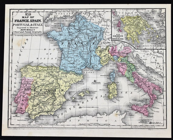 1852 France Spain Italy Portugal Map Paris Madrid Rome Corsica Etsy