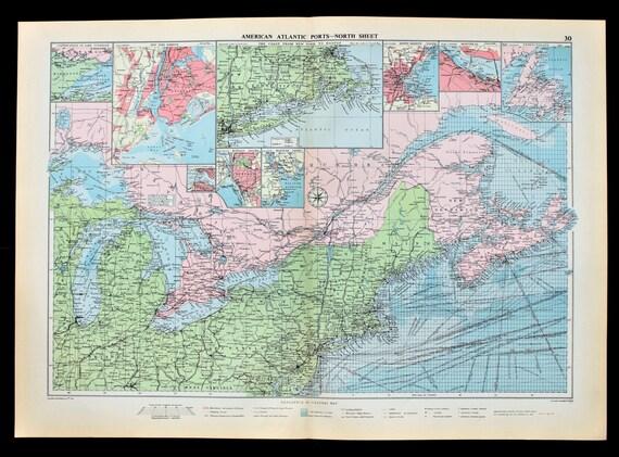 1952 United States Northern New York Michigan Railroads Shipping Routes RARE