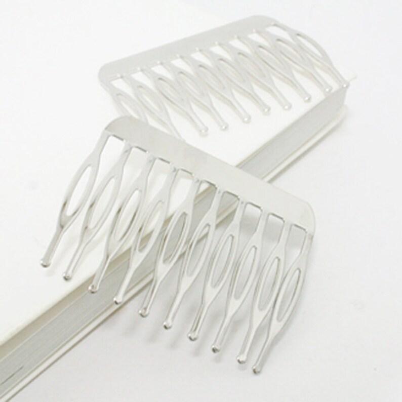 teeth Silver Metal Hair Comb 50mm long