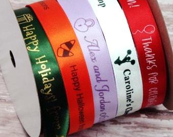Imprinted DecoratIve Ribbon, Icon Ribbon Personalise Ribbons, custom Satin Printed Ribbon, Professionally Printed Favor Ribbon, Gift Ribbon,