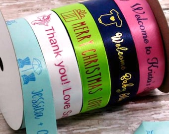 Imprinted DecoratIve Ribbon, Personalise Ribbons, custom Satin Printed Ribbon, Professionally Printed Favor Ribbon, Gift Ribbon, Icon Ribbon
