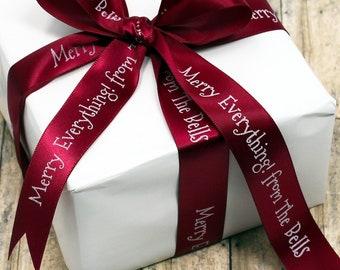 Personalized Holiday Ribbon, Printed Christmas Ribbon, Professionally Printed Favor Ribbon, Wedding Ribbon, Gift Ribbon, Custom Ribbon