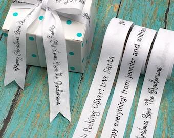 Personalized Poly Cotton Ribbon, Printed Ribbon, Favor Ribbon, Christmas Ribbon, Printed Wedding Ribbon Custom Shower Favors, Gift Ribbon,