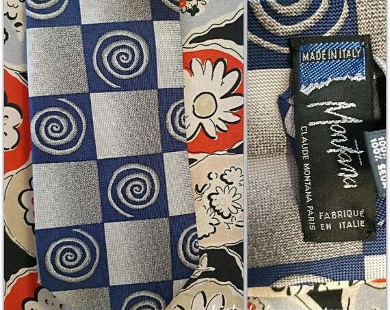 Vintage Claude Montana Necktie Blue Silk #SophieLadyDeParis