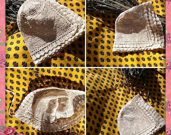 48385648716a 1900 s Baby Bonnet Beige Hand Crocheted Hat Antique French Lace New Born or  Doll Cotton Hat  sophieladydeparis