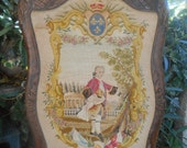 Tapestry Fire Screen Louis XVI Petit Point Fleur de Lys Walnut Frame Louis XV Style Bourbon Blazon sophieladydeparis