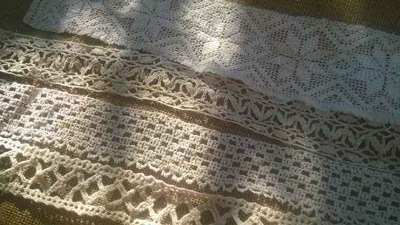Antique Lace French Lace Braids Lot White Cotton Hand Crochet Lace Supply 4 Pieces Sewing Projects Fashion and Home Decor #sophieladydeparis