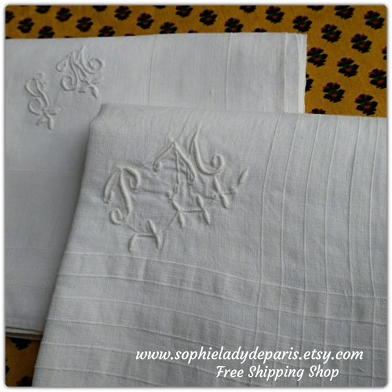 "2 Large Handkerchiefs Victorian White Linen Tissues ""PM""  Monogrammed French Tissues Pocket Squares"
