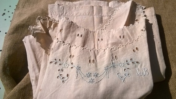 Linen Nightgown Unused Victorian 1850's Dress Handmade French  Monogram Embroideries Cut Works Costumes Movies Plays #sophieladydeparis