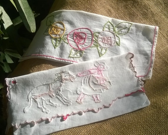 2 Napkin Cases Handmade French White Cotton Linen Pouches Farmer Donkey and Flowers Hand Embroidered Sewing Project #sophieladydeparis