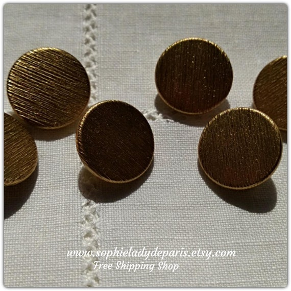 6 Brushed Gold Buttons 60's Small French Mod Buttons High Quality Buttons #sophieladydeparis