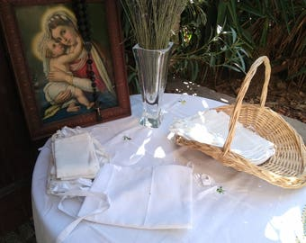 Antique Amice 1930's French Priest Linen Apron Nun Handmade White Clergy Cloth Red Crucifix Monogram Hand Embroidered 2 #sophieladydeparis