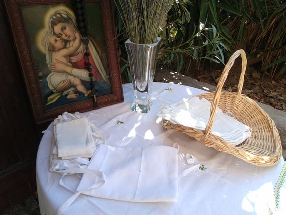 Antique Amice 1930's French Linen Priest Linen Apron Nun Handmade White Clergy Cloth Red Crucifix Monogram Embroidered 2 #sophieladydeparis