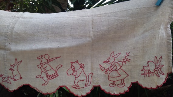 Large Hemp Shelf Edging Victorian French Country Kitchen Café Curtain 1880's Red Embroidered Home Decor Rabbits Villagers #sophieladydeparis
