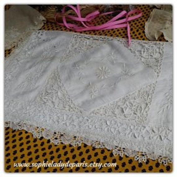Victorian Bag White Wedding Lingerie Bag French Cotton Lace Hand Embroidered Lingerie Nightgown Pajama Bag Collectible #sophieladydeparis