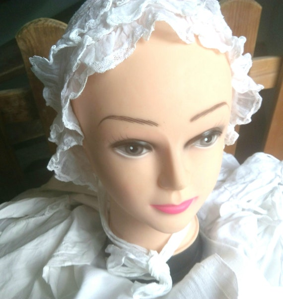 Victorian Bonnet Ruffled  Lace Long straps Handmade French White Sheer Cotton Clothing for Costumes #sophiladydeparis
