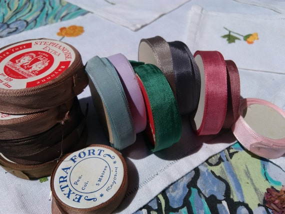 Antique French Ribbons on 3 Rolls French Scriptures Antique French Haberdashery Blue Green and Purple Ribbon #sophieladydeparis