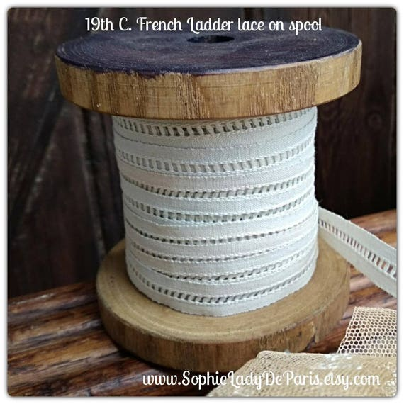 9 Yds Victorian Lace on Wood Spool Antique White French Cotton Ladder Lace Sewing Collectible Decor #sophieladydeparis